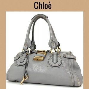 Chloe Shoulder bag handbag gray leather paddington